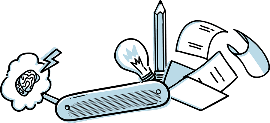 Illustration of a Swiss Army Knife with tools represented by common drugs